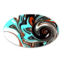 Abstract In Aqua, Orange, And Black Oval Magnet by digitaldivadesigns