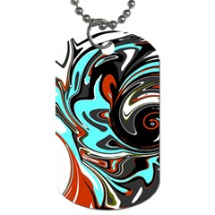 Abstract In Aqua, Orange, And Black Dog Tag (two Sides) by digitaldivadesigns
