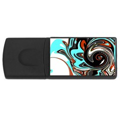 Abstract In Aqua, Orange, And Black Usb Flash Drive Rectangular (4 Gb)  by digitaldivadesigns