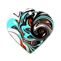 Abstract In Aqua, Orange, And Black Dog Tag Heart (one Side) by digitaldivadesigns