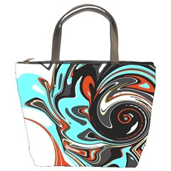 Abstract In Aqua, Orange, And Black Bucket Bags by digitaldivadesigns