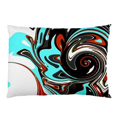 Abstract In Aqua, Orange, And Black Pillow Cases