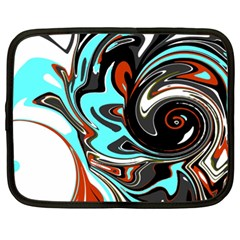 Abstract In Aqua, Orange, And Black Netbook Case (xxl)  by digitaldivadesigns