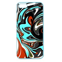 Abstract In Aqua, Orange, And Black Apple Seamless Iphone 5 Case (color) by digitaldivadesigns