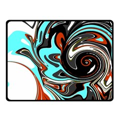 Abstract In Aqua, Orange, And Black Double Sided Fleece Blanket (small)  by digitaldivadesigns