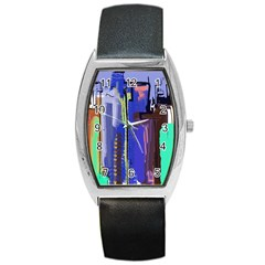 Abstract City Design Barrel Metal Watches