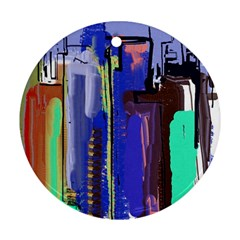 Abstract City Design Round Ornament (two Sides)