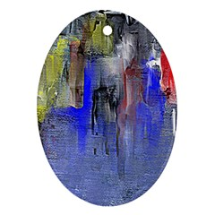 Hazy City Abstract Design Ornament (oval)  by digitaldivadesigns