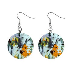 Abstract Country Garden Mini Button Earrings by digitaldivadesigns