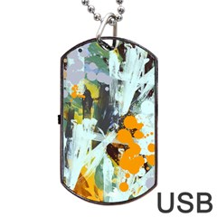 Abstract Country Garden Dog Tag Usb Flash (two Sides)