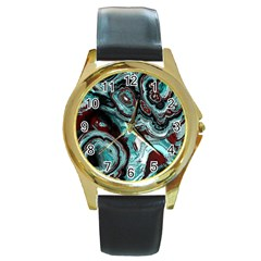 Fractal Marbled 05 Round Gold Metal Watches by ImpressiveMoments