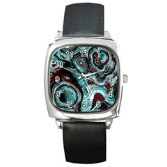 Fractal Marbled 05 Square Metal Watches