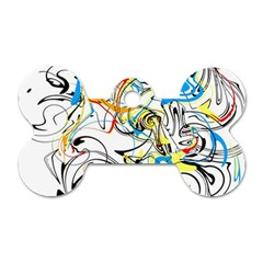 Abstract Fun Design Dog Tag Bone (one Side)