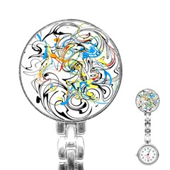Abstract Fun Design Stainless Steel Nurses Watches by digitaldivadesigns
