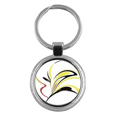 Abstract Flower Design Key Chains (round)