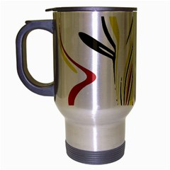 Abstract Flower Design Travel Mug (silver Gray) by digitaldivadesigns