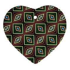 Rhombus Flowers Pattern Heart Ornament (two Sides) by LalyLauraFLM
