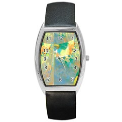 Abstract Flower Design In Turquoise And Yellows Barrel Metal Watches by digitaldivadesigns