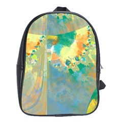 Abstract Flower Design In Turquoise And Yellows School Bags(large)  by digitaldivadesigns