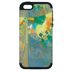 Abstract Flower Design In Turquoise And Yellows Apple Iphone 5 Hardshell Case (pc+silicone) by digitaldivadesigns