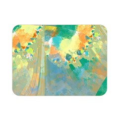 Abstract Flower Design In Turquoise And Yellows Double Sided Flano Blanket (mini)