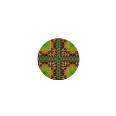 Tribal Shapes Pattern 1  Mini Button by LalyLauraFLM