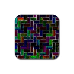 Colorful Rectangles Pattern Rubber Coaster (square) by LalyLauraFLM