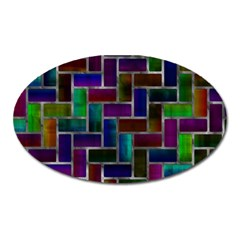 Colorful Rectangles Pattern Magnet (oval) by LalyLauraFLM