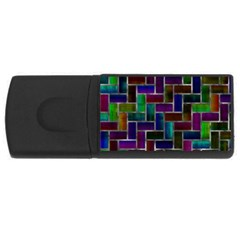 Colorful Rectangles Pattern Usb Flash Drive Rectangular (4 Gb)