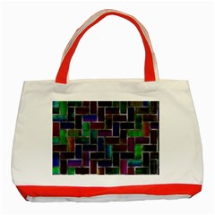 Colorful Rectangles Pattern Classic Tote Bag (red) by LalyLauraFLM