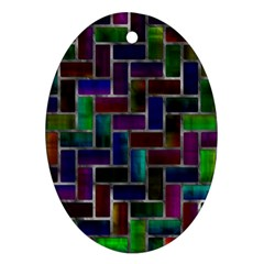 Colorful Rectangles Pattern Oval Ornament (two Sides) by LalyLauraFLM