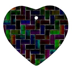 Colorful Rectangles Pattern Heart Ornament (two Sides) by LalyLauraFLM