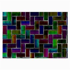 Colorful Rectangles Pattern Large Glasses Cloth (2 Sides) by LalyLauraFLM