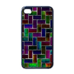 Colorful Rectangles Pattern Apple Iphone 4 Case (black) by LalyLauraFLM