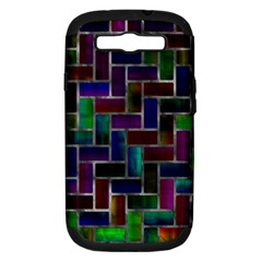 Colorful Rectangles Pattern Samsung Galaxy S Iii Hardshell Case (pc+silicone) by LalyLauraFLM
