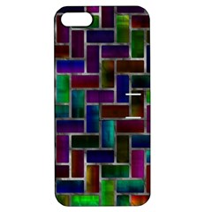 Colorful Rectangles Pattern Apple Iphone 5 Hardshell Case With Stand by LalyLauraFLM