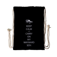 Keep Calm And Carry On My Wayward Son Drawstring Bag (small) by TheFandomWard