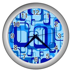 Retro Pattern 1971 Blue Wall Clocks (silver)  by ImpressiveMoments