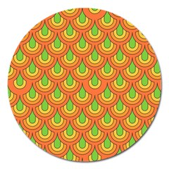 70s Green Orange Pattern Magnet 5  (round) by ImpressiveMoments