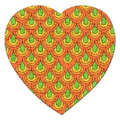 70s Green Orange Pattern Jigsaw Puzzle (heart) by ImpressiveMoments