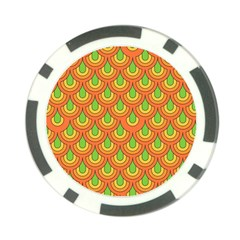 70s Green Orange Pattern Poker Chip Card Guards (10 Pack)  by ImpressiveMoments
