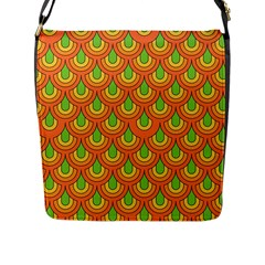 70s Green Orange Pattern Flap Messenger Bag (l)  by ImpressiveMoments
