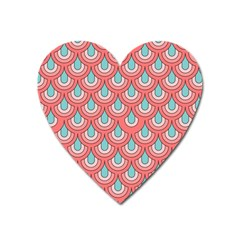 70s Peach Aqua Pattern Heart Magnet by ImpressiveMoments