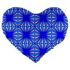 Retro Blue Pattern Large 19  Premium Flano Heart Shape Cushions