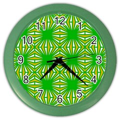 Retro Green Pattern Color Wall Clocks by ImpressiveMoments