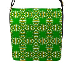 Retro Green Pattern Flap Messenger Bag (l)  by ImpressiveMoments