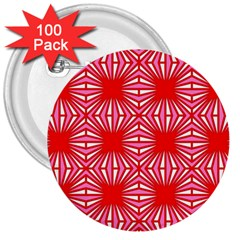 Retro Red Pattern 3  Buttons (100 Pack)