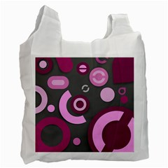 Grey Plum Abstract Pattern  Recycle Bag (two Side)
