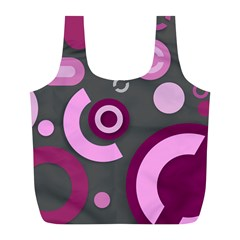 Grey Plum Abstract Pattern  Full Print Recycle Bags (l)