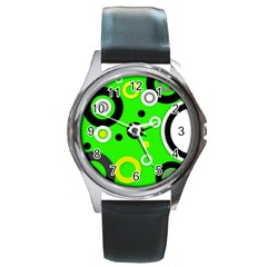 Florescent Green Yellow Abstract  Round Metal Watches by OCDesignss